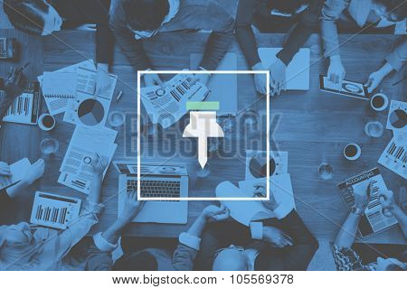 Business Working Thumbtack Pinned Note Office