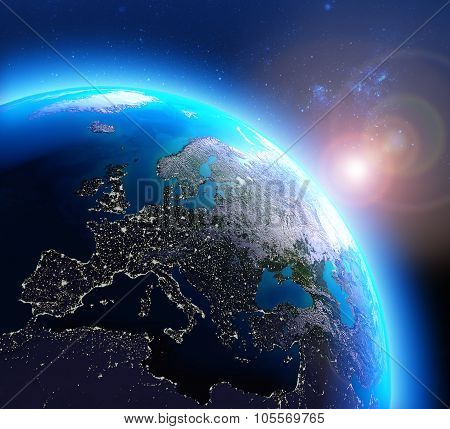 City lights in Europe seen from space
