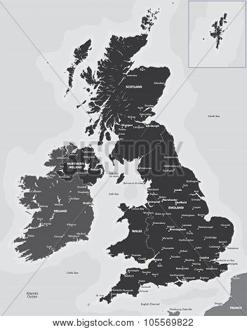 Black and white map of the UK and Ireland
