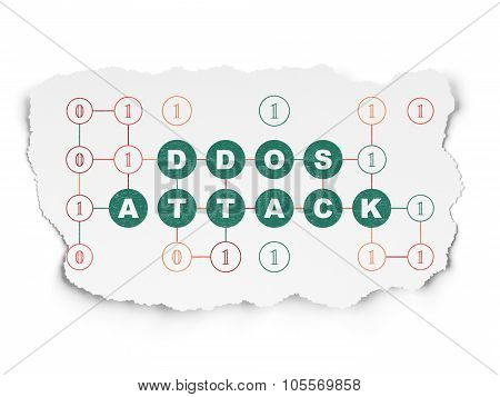 Privacy concept: DDOS Attack on Torn Paper background