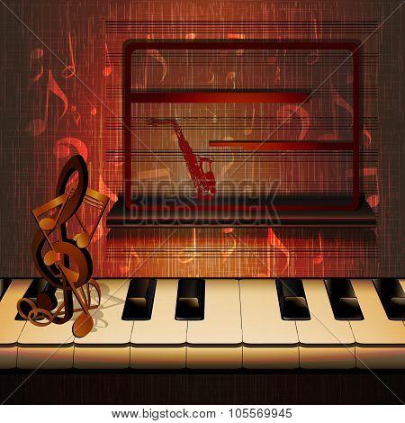 Piano Keys And A Shelf With Frame