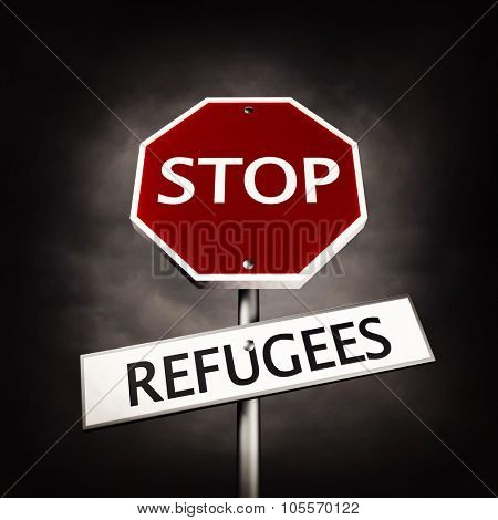 Stop refugees as a road sign