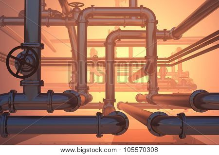 A lot of pipes on a red  background.