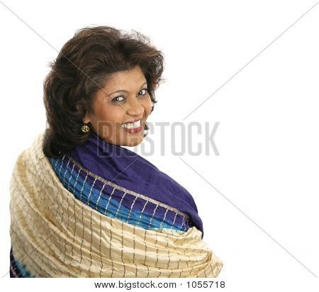 Indian Woman Colorful Shawl