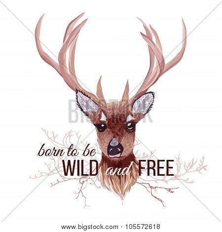 Deer And Bare Branches Vector Design Object. Wild And Free Slogan