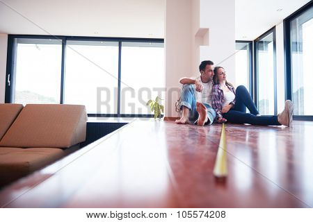 happy young romantic couple at new modern  home interior renovation