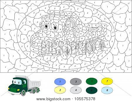 Color By Number Educational Game For Kids. Cartoon Lorry. Vector Illustration