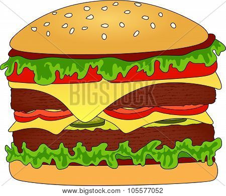 Hamburger Or Cheeseburger With Cheese, Tomato, Meat And Salad. Fast Food