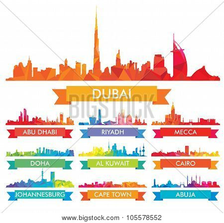 Colorful ?ity Skyline The Arabian Peninsula And Africa