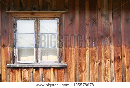 The Old Window In The Wooden Gouse Wall