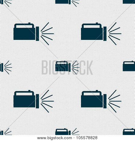 Flashlight Icon Sign. Seamless Abstract Background With Geometric Shapes.