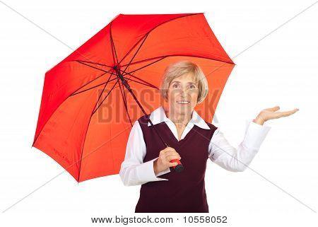Senior Lady With Umbrealla Presentation