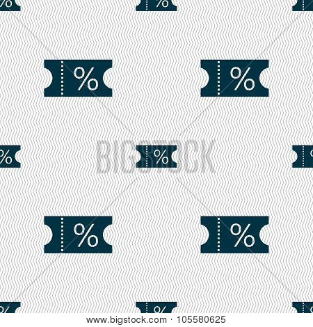 Ticket Discount Icon Sign. Seamless Abstract Background With Geometric Shapes.