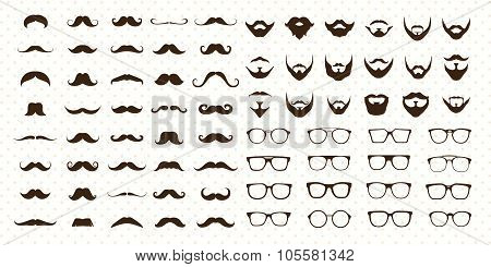 Mustaches, Beard and Sunglasse style set