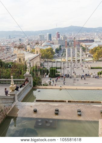 View Of The City Of Barcelona From Montjuic