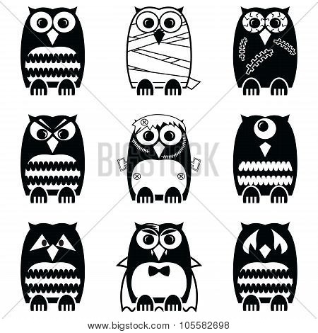Halloween scary, spooky, mummy, cyclops, vampire. Monster, zombie owls