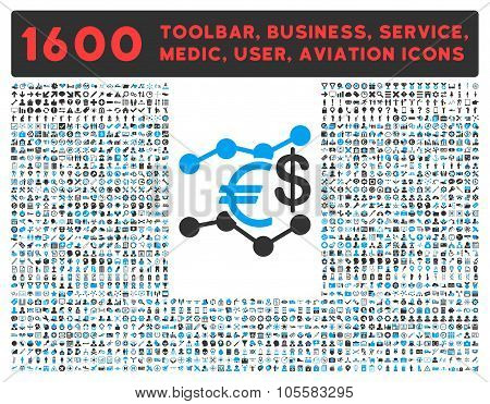Currency Trends Icon with Large Pictogram Collection