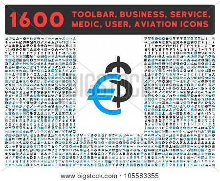Currency Icon with Large Pictogram Collection