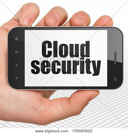 Cloud computing concept: Hand Holding Smartphone with Cloud Security on display