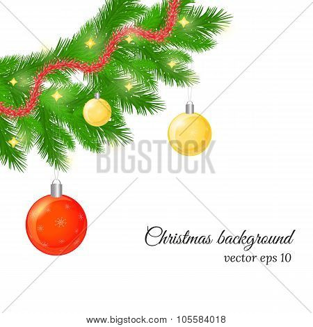 Christmas And New Year Background With Fir Tree Twigs, Glossy Balls And Trumpery.