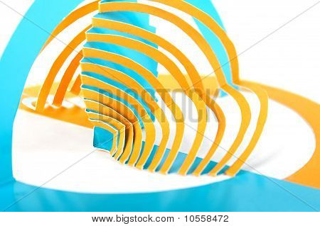 Abstract Cutout Blue And Orange Paper Composition, Tweil Stripes, Isolated