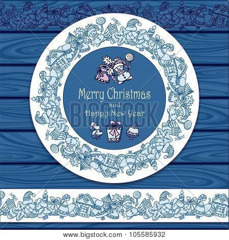 Circle frame and border from Christmas  elements on blue wood background