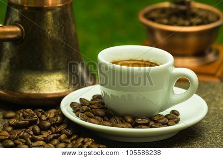 Fresh Coffee With Copper Coffee Pot And Copper-wood Coffee Grinder