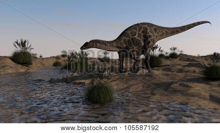 dicraeosaurus walking on river bank