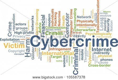 Background concept wordcloud illustration of cybercrime