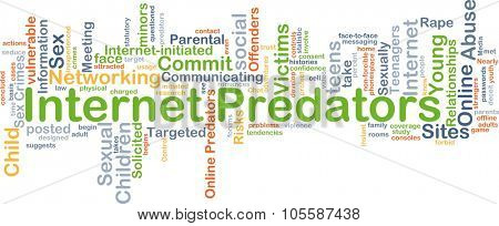 Background concept wordcloud illustration of internet predators