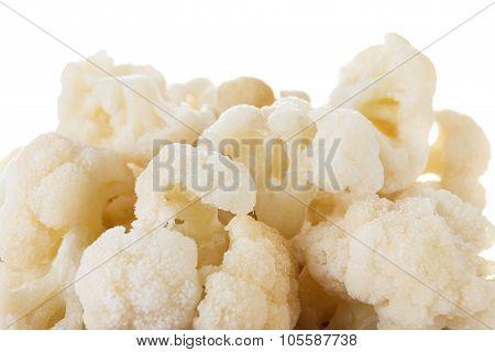 Cauliflower On White Background Close-up