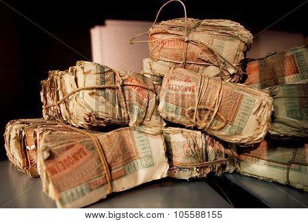 Bundles Of Vintage Turkish Banknotes In Vault Of An Old Bank