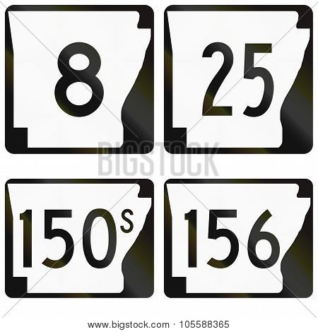 Collection Of Numbered Road Signs Used In Arkansas, Usa