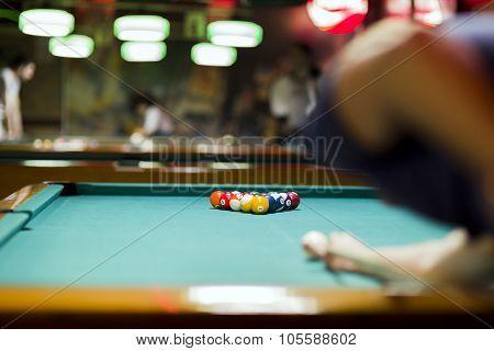 Handsome Man Looking To Break The Balls In Snooker