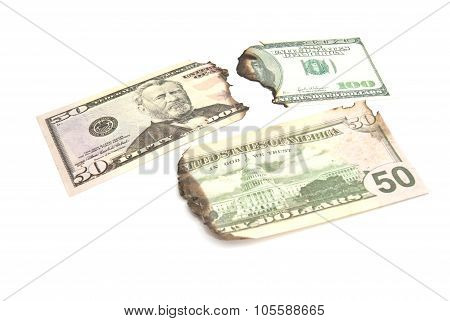 Burnt Bills Of Dollars
