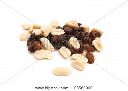 Peanuts And Raisins On White