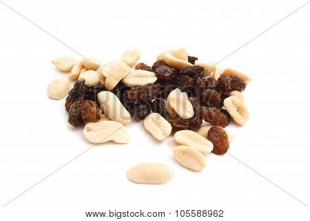 Peanuts And Raisins On White