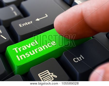 Travel Insurance - Concept on Green Keyboard Button.