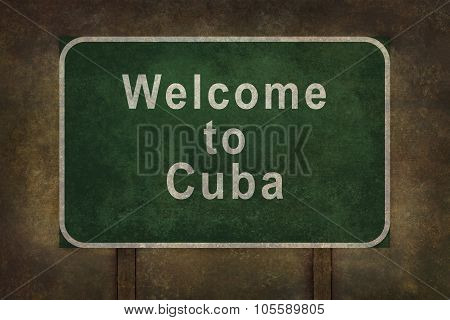 Welcome To Cuba Roadside Sign Illustration