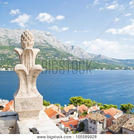 View From Bell Tower Of Sveti Marko Cathedral, Korcula Old Town, Croatia