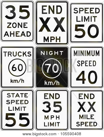 Collection Of Speed Limit Signs Used In The Usa