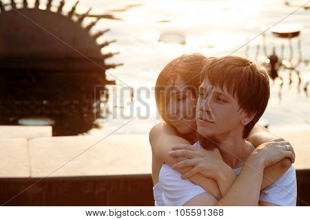 Embrace Of Couple In Love