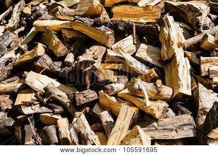 Abstract Messy Pile Of Chopped Firewood