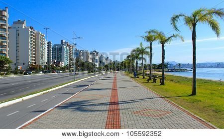Bike Path And Sea Shore In Florianopolis