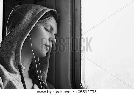 Sleeping Girl In Train