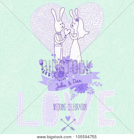 Romantic vector card in blue colors. Couple of rabbits in love. Nice floral Save the Date invitation card