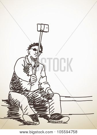 Siting man taking a selfie with smart phone, Hand drawn illustration sketch