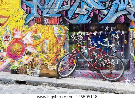 Bicycle Parked In The Hosier Lane In Melbourne