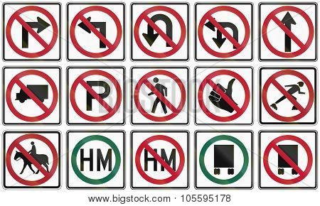 Collection Of Prohibition Signs Used In The Usa