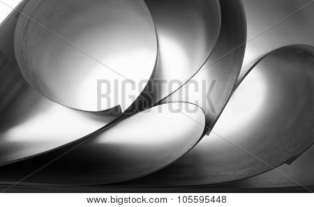 Macro view of abstract paper curves. B-W image